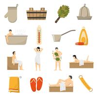 bain sauna spa jeu d'icônes plat vecteur
