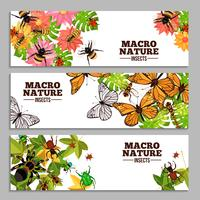 Bannières horizontales d'insectes vecteur