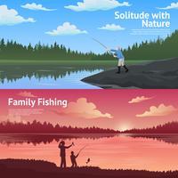 Jeu de bannières horizontales de pêche familiale vecteur