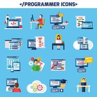 jeu d'icônes décoratives de couleur plat programmeur