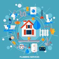 Affiche de composition de cercle de concept de service de plomberie vecteur