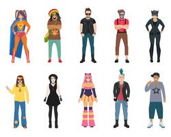 Sous-cultures personnes Icons Set
