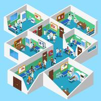 Vue isométrique intérieure d'établissements hospitaliers