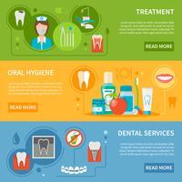 Ensemble de bannières de soins dentaires vecteur