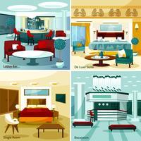 Concept de design intérieur de l'hôtel 2x2 vecteur