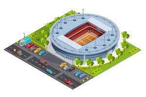 Complexe sportif de tennis avec terrain isométrique de stade à ciel ouvert Bannière vecteur