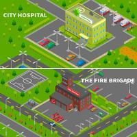 Bannières isométriques d'hôpital et de caserne de pompiers vecteur
