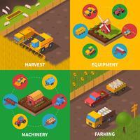 Machines agricoles 4 Icônes Isométrique Carré