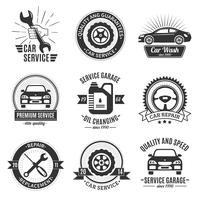 Auto Services Black White Emblems vecteur