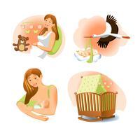 Set naissance bébé vecteur