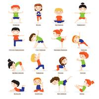 Ensemble de dessin animé pour enfants enfants Yoga Poses. vecteur