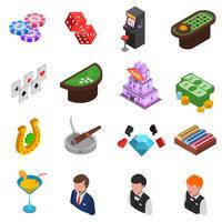 Jeu d'icônes isométrique Casino vecteur