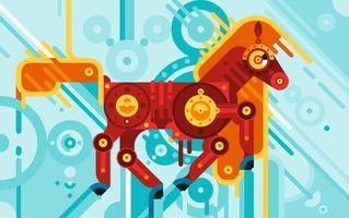Concept abstrait de cheval mécanicien vecteur