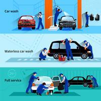Service de lavage de voiture 3 bannières plates vecteur