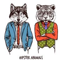 ensemble d'animaux hipster