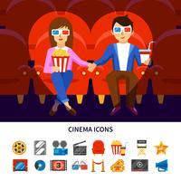 Ensemble d'infographie de cinéma vecteur