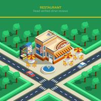 Paysage de la ville isométrique avec bâtiment du restaurant vecteur