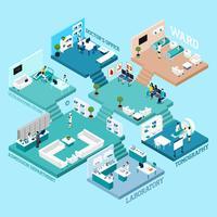 Icônes de schéma isométrique d'hôpital
