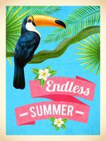 Affiche plate de vacances d'été Toucan Bird