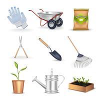 Ensemble d'icônes décoratives de jardinage vecteur
