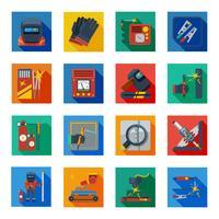 Icônes de soudage plats dans des carrés colorés