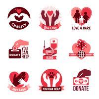 Ensemble d'emblèmes de logo de charité vecteur