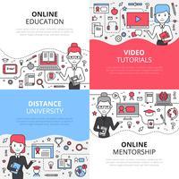 Ensemble de concepts de design pour l'éducation en ligne vecteur