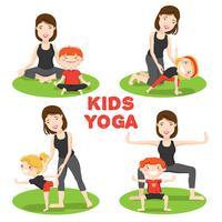 Mère enfant yoga 4 icônes set vecteur