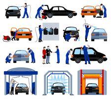 Ensemble de pictogrammes plats pour service de lavage de voiture vecteur