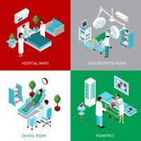 Départements d'hôpitaux 4 IsometricIcons Square vecteur