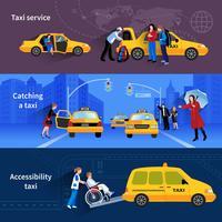 Ensemble de bannières de service de taxi vecteur