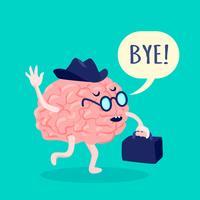 Illustration de cerveau en chapeau vecteur