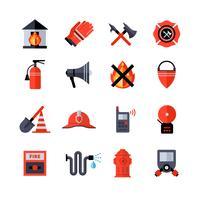 Icônes décoratives des pompiers vecteur