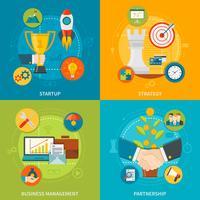 Concept de design de l'entrepreneuriat 2x2 vecteur