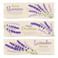 Bannières horizontales de fleurs de lavande vecteur