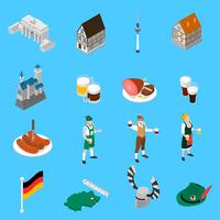 Collection d'icônes isométriques des traditions de la culture allemande