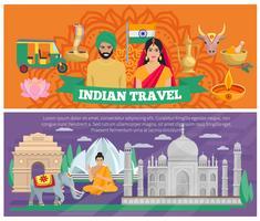 Bannières de voyage indiennes vecteur