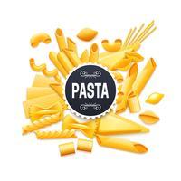 Pictogramme réaliste de pâtes sèches traditionnel italien