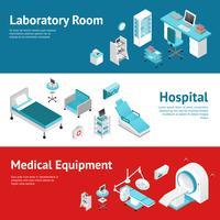 Ensemble de bannières plat pour équipement médical hospitalier vecteur