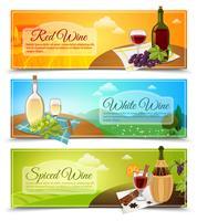 Set de bannières de vin vecteur