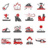 Collection d'icônes noir-rouge désastre naturel vecteur