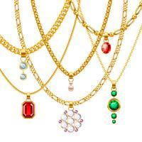 Ensemble de chaînes en or avec pendentifs