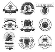 Ensemble d'emblèmes noir blanc et pierres précieuses vecteur
