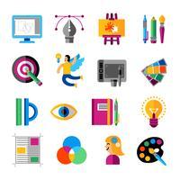 jeu d'icônes de concepteur créatif vecteur