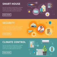 Jeu de bannières horizontales Smart House vecteur