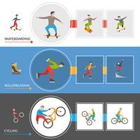 Bannières horizontales de sports de ville extrême