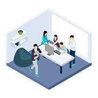 Illustration de coworking et travail d'équipe vecteur