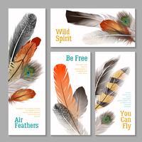 Ensemble de bannières de plumes vecteur