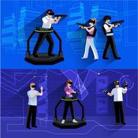 Ensemble de bannières plates de réalité augmentée virtuelle vecteur