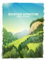 Affiche de fond de paysage de montagnes vecteur